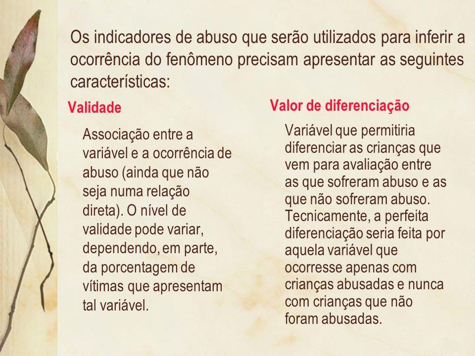 Os indicadores de abuso que serão utilizados para inferir a ocorrência do fenômeno precisam apresentar as seguintes características: Validade Associaç