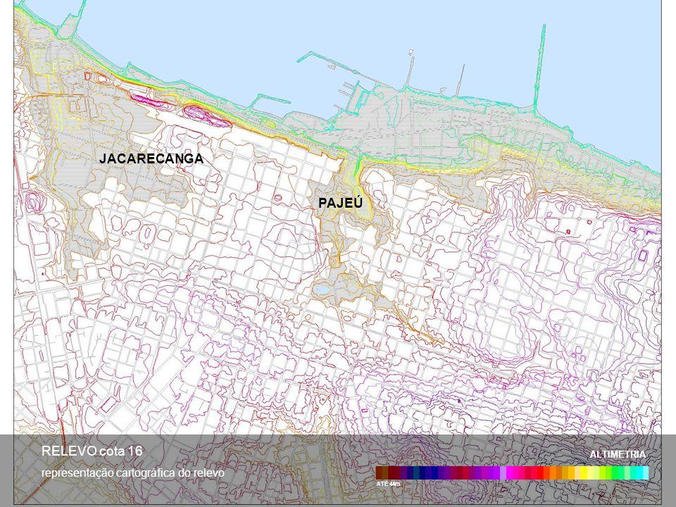 ATÉ 44m ALTIMETRIA RELEVO cota 16 representação cartográfica do relevo JACARECANGA PAJEÚ