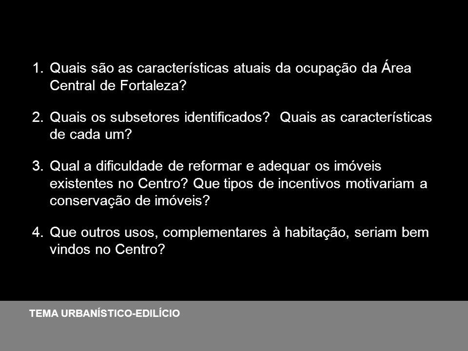 1.Quais são as características atuais da ocupação da Área Central de Fortaleza? 2.Quais os subsetores identificados? Quais as características de cada