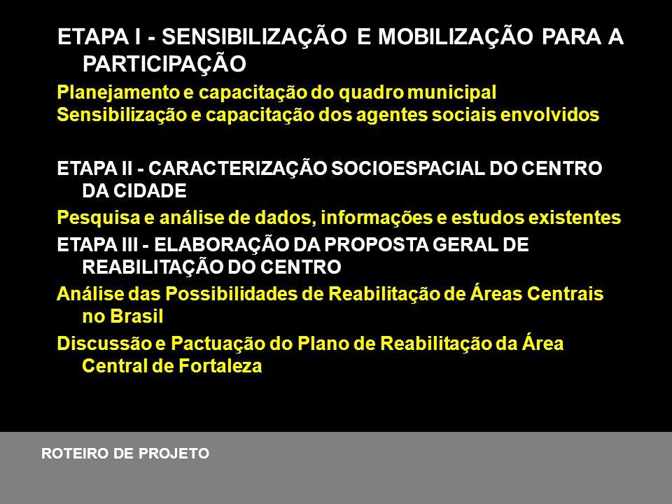 ETAPA I - SENSIBILIZAÇÃO E MOBILIZAÇÃO PARA A PARTICIPAÇÃO Planejamento e capacitação do quadro municipal Sensibilização e capacitação dos agentes soc