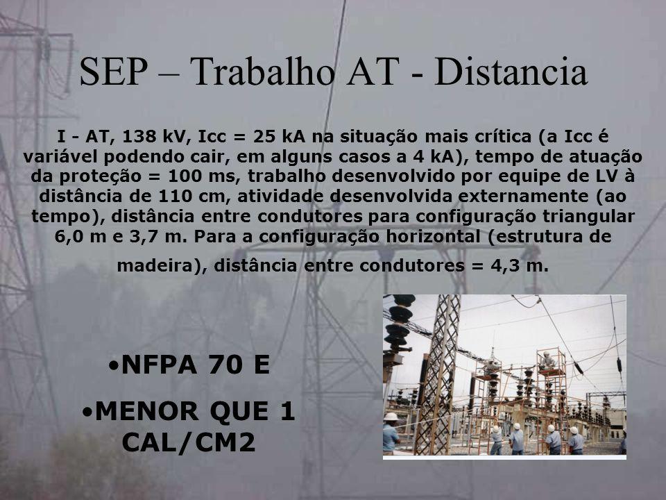 SEP – Trabalho AT - Distancia I - AT, 138 kV, Icc = 25 kA na situação mais crítica (a Icc é variável podendo cair, em alguns casos a 4 kA), tempo de a