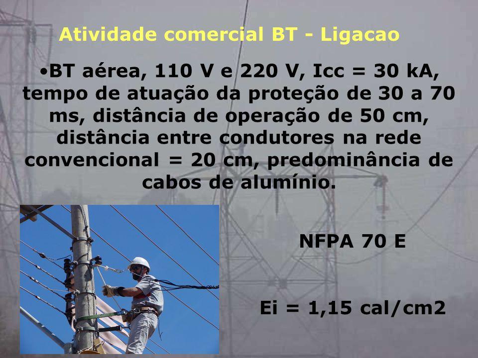 BT aérea, 110 V e 220 V, Icc = 30 kA, tempo de atuação da proteção de 30 a 70 ms, distância de operação de 50 cm, distância entre condutores na rede c