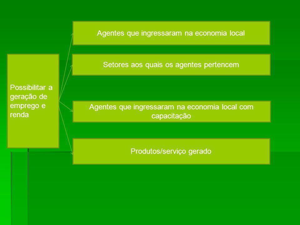 Possibilitar a geração de emprego e renda Agentes que ingressaram na economia local com capacitação Agentes que ingressaram na economia local Setores