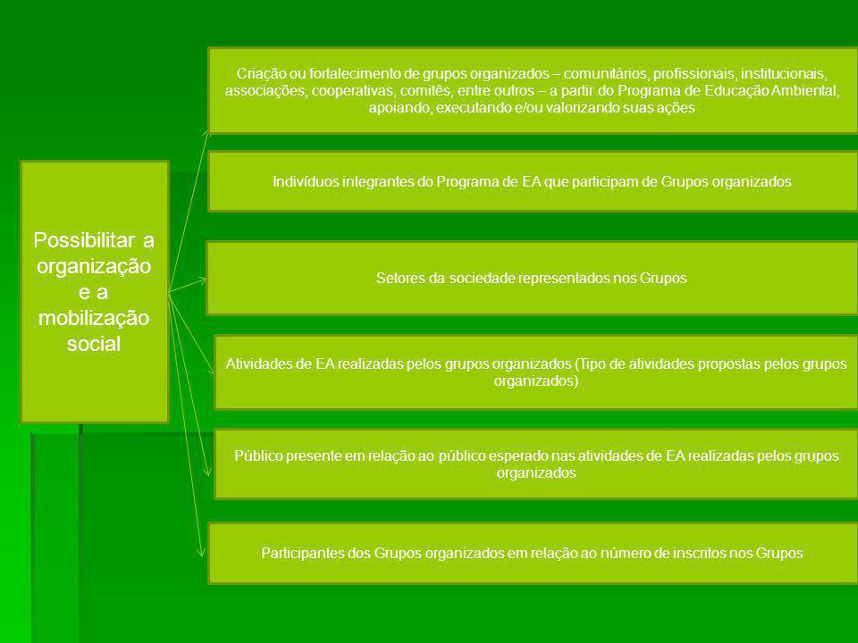 Possibilitar a organização e a mobilização social Atividades de EA realizadas pelos grupos organizados (Tipo de atividades propostas pelos grupos orga