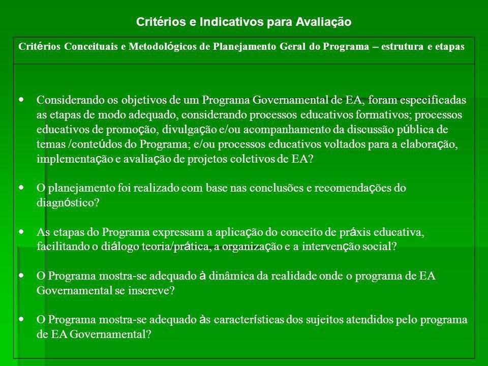 Crit é rios Conceituais e Metodol ó gicos de Planejamento Geral do Programa – estrutura e etapas Considerando os objetivos de um Programa Governamenta