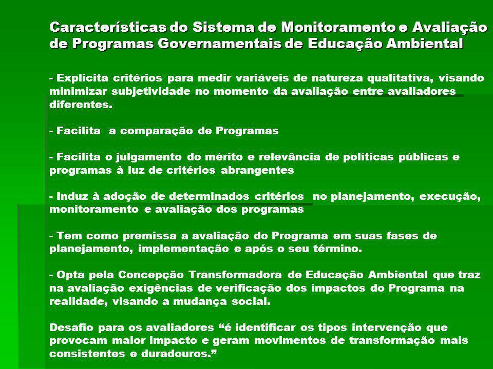 Características do Sistema de Monitoramento e Avaliação de Programas Governamentais de Educação Ambiental - Características do Sistema de Monitorament