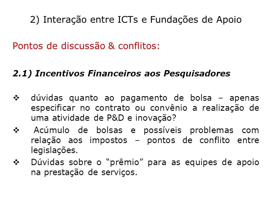 2) Interação entre ICTs e Fundações de Apoio Pontos de discussão & conflitos: 2.1) Incentivos Financeiros aos Pesquisadores dúvidas quanto ao pagament