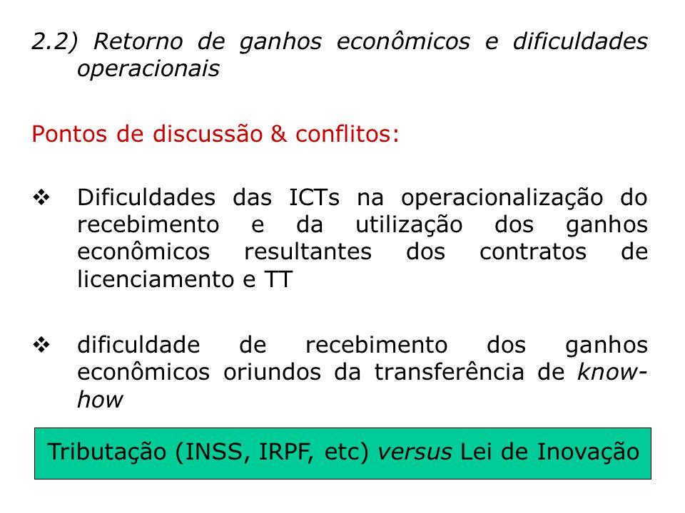 2.2) Retorno de ganhos econômicos e dificuldades operacionais Pontos de discussão & conflitos: Dificuldades das ICTs na operacionalização do recebimen