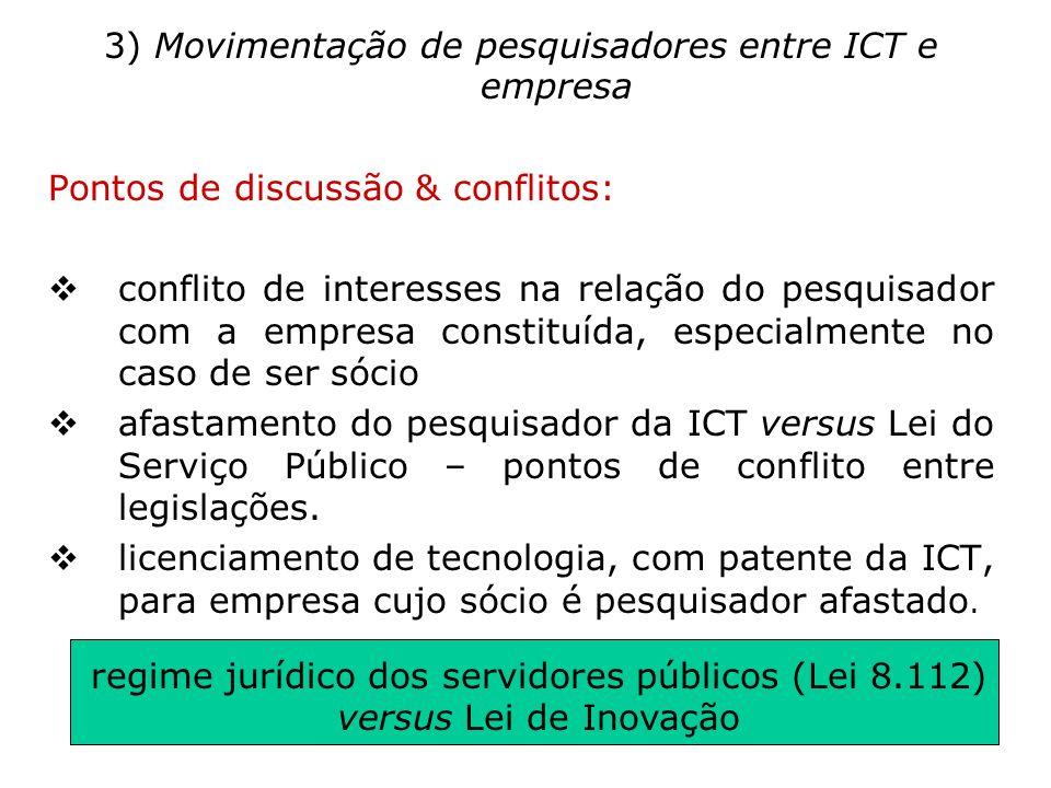 3) Movimentação de pesquisadores entre ICT e empresa Pontos de discussão & conflitos: conflito de interesses na relação do pesquisador com a empresa c