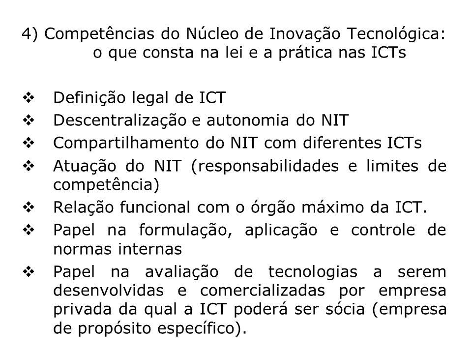 4) Competências do Núcleo de Inovação Tecnológica: o que consta na lei e a prática nas ICTs Definição legal de ICT Descentralização e autonomia do NIT