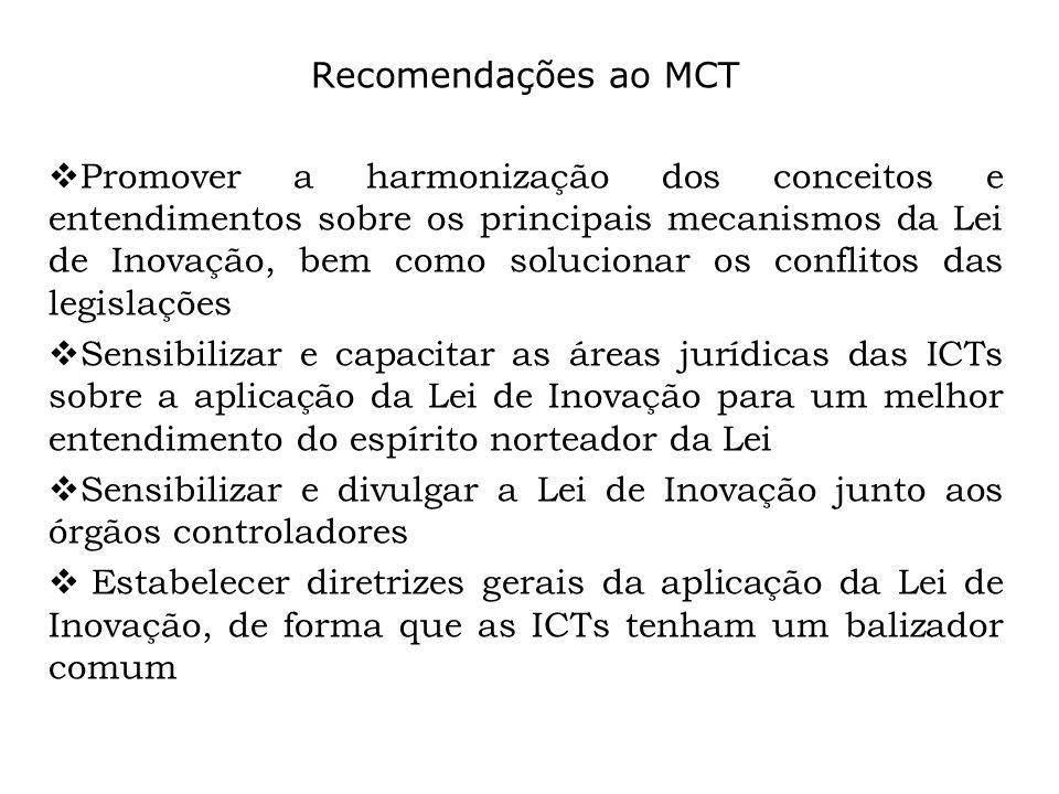 Recomendações ao MCT Promover a harmonização dos conceitos e entendimentos sobre os principais mecanismos da Lei de Inovação, bem como solucionar os c