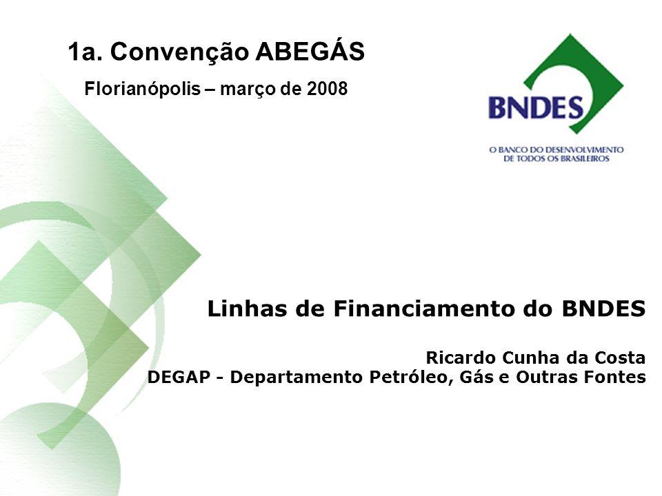 Linhas de Financiamento do BNDES Ricardo Cunha da Costa DEGAP - Departamento Petróleo, Gás e Outras Fontes 1a.