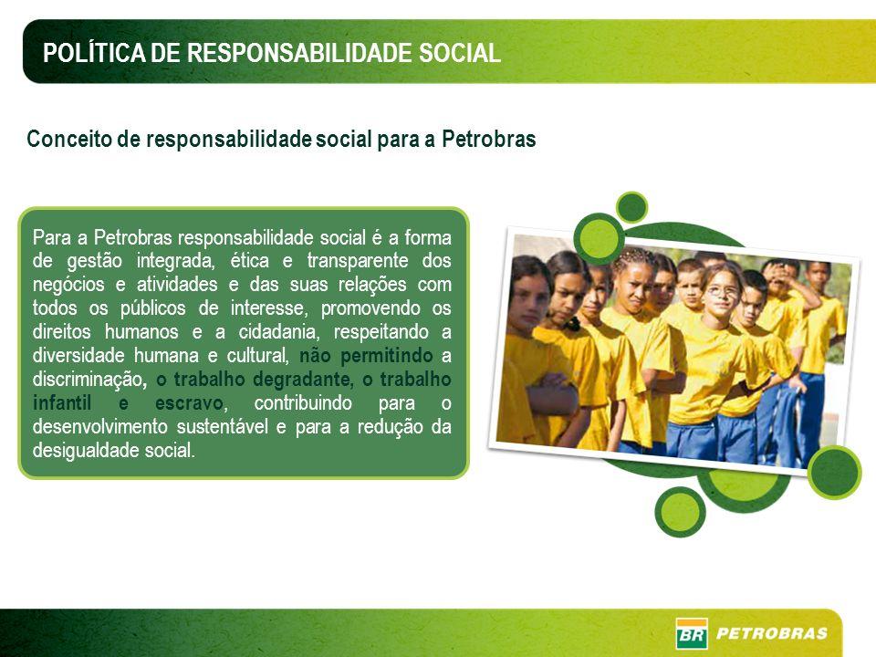 POLÍTICA DE RESPONSABILIDADE SOCIAL Para a Petrobras responsabilidade social é a forma de gestão integrada, ética e transparente dos negócios e ativid