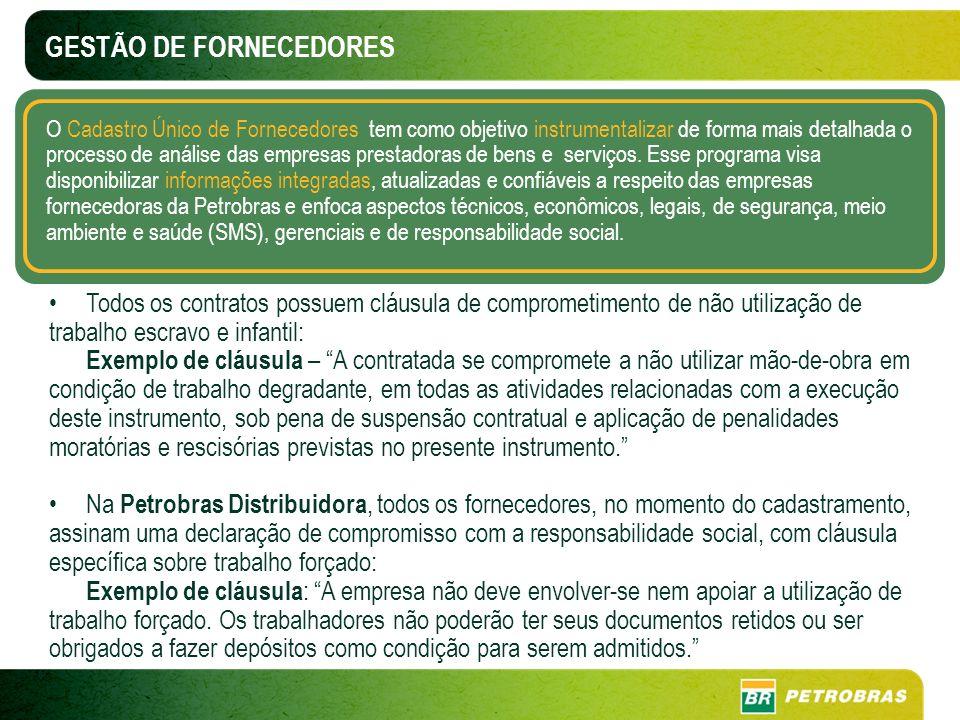 GESTÃO DE FORNECEDORES O Cadastro Único de Fornecedores tem como objetivo instrumentalizar de forma mais detalhada o processo de análise das empresas