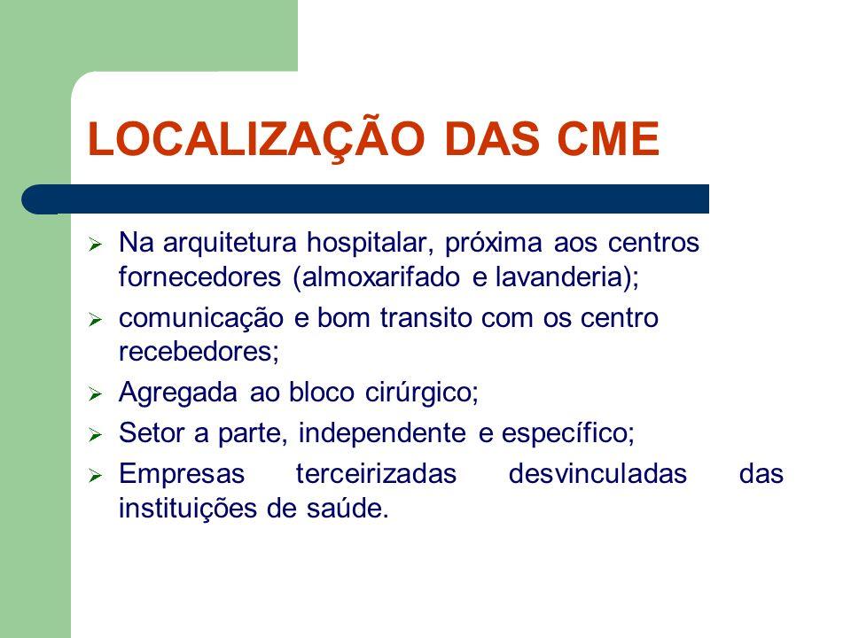 LOCALIZAÇÃO DAS CME Na arquitetura hospitalar, próxima aos centros fornecedores (almoxarifado e lavanderia); comunicação e bom transito com os centro