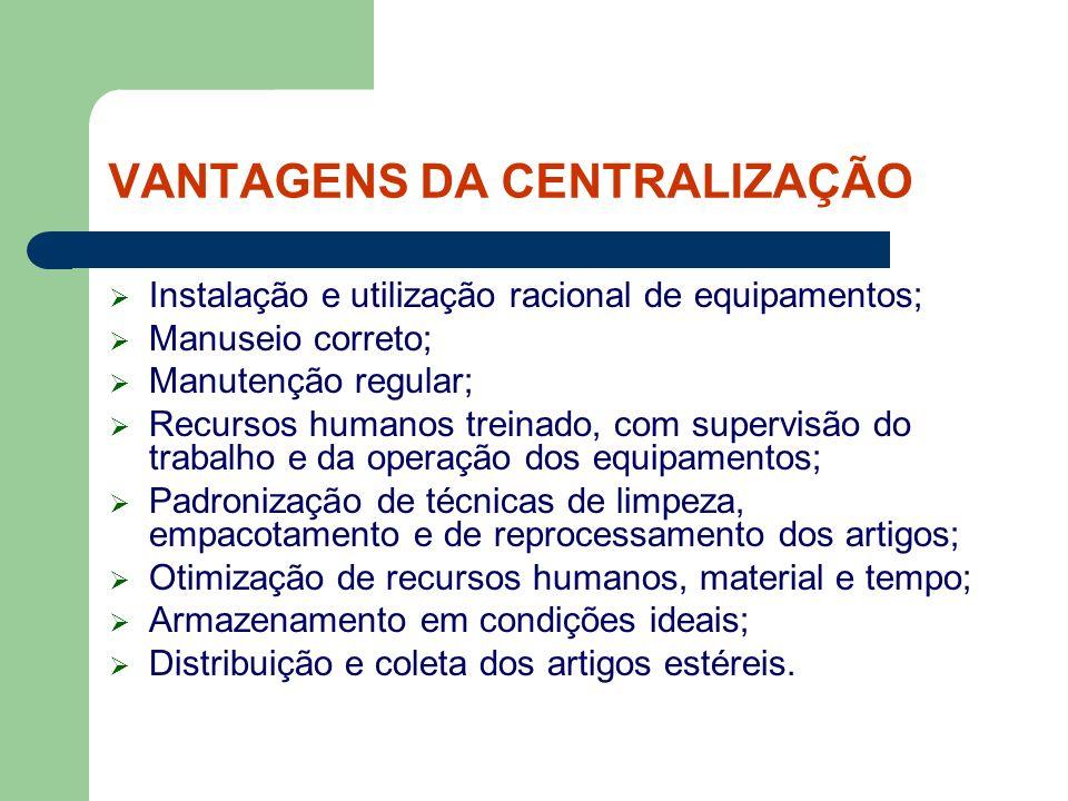 VANTAGENS DA CENTRALIZAÇÃO Instalação e utilização racional de equipamentos; Manuseio correto; Manutenção regular; Recursos humanos treinado, com supe
