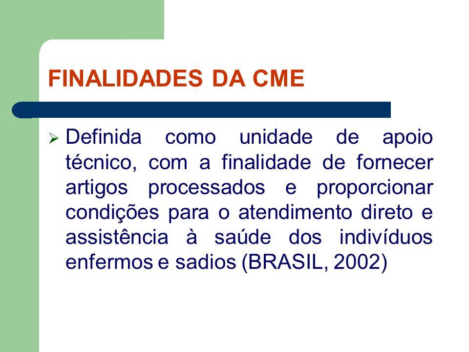 FINALIDADES DA CME Definida como unidade de apoio técnico, com a finalidade de fornecer artigos processados e proporcionar condições para o atendiment