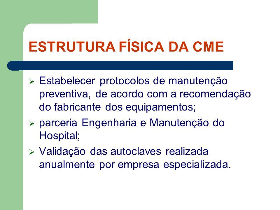 ESTRUTURA FÍSICA DA CME Estabelecer protocolos de manutenção preventiva, de acordo com a recomendação do fabricante dos equipamentos; parceria Engenha