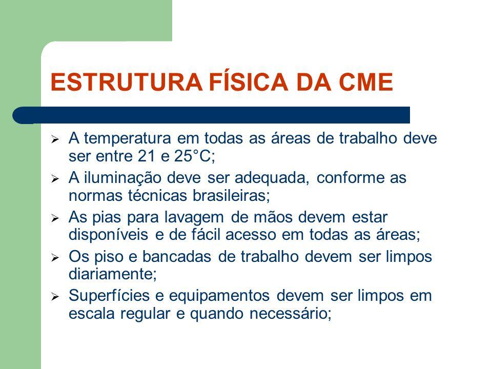 ESTRUTURA FÍSICA DA CME A temperatura em todas as áreas de trabalho deve ser entre 21 e 25°C; A iluminação deve ser adequada, conforme as normas técni