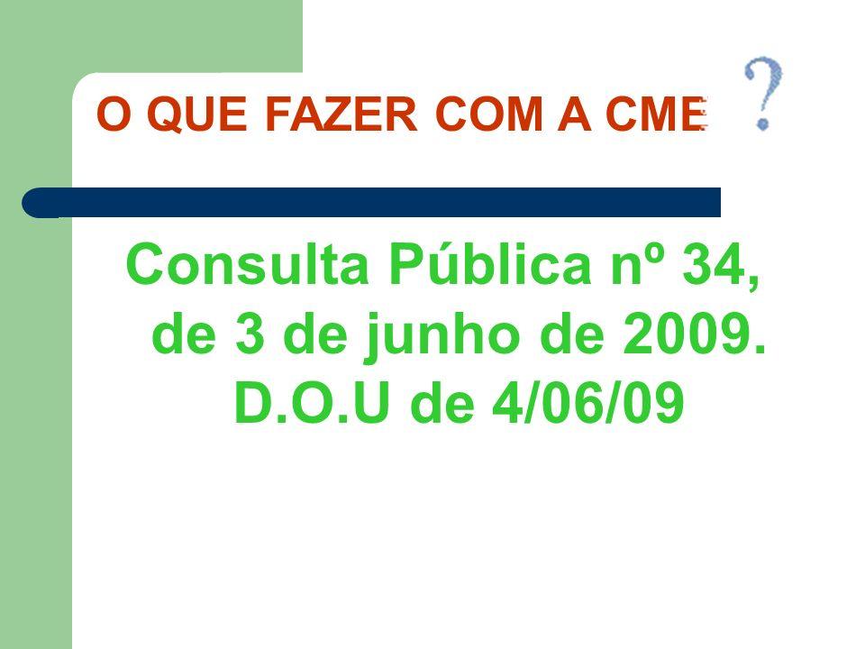 Consulta Pública nº 34, de 3 de junho de 2009. D.O.U de 4/06/09 O QUE FAZER COM A CME