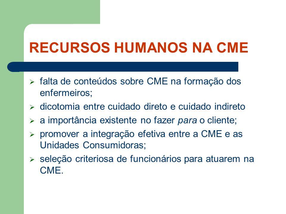 RECURSOS HUMANOS NA CME falta de conteúdos sobre CME na formação dos enfermeiros; dicotomia entre cuidado direto e cuidado indireto a importância exis