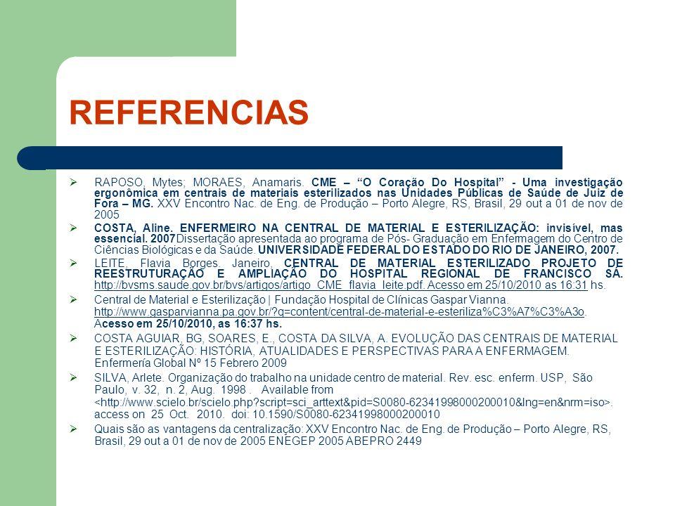 REFERENCIAS RAPOSO, Mytes; MORAES, Anamaris. CME – O Coração Do Hospital - Uma investigação ergonômica em centrais de materiais esterilizados nas Unid