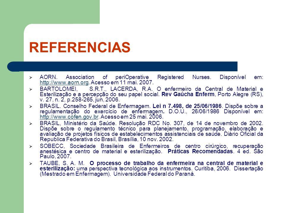REFERENCIAS AORN. Association of periOperative Registered Nurses. Disponível em: http://www.aorn.org. Acesso em 11 mai. 2007. http://www.aorn.org BART