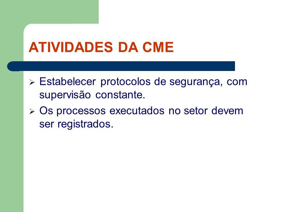 ATIVIDADES DA CME Estabelecer protocolos de segurança, com supervisão constante. Os processos executados no setor devem ser registrados.
