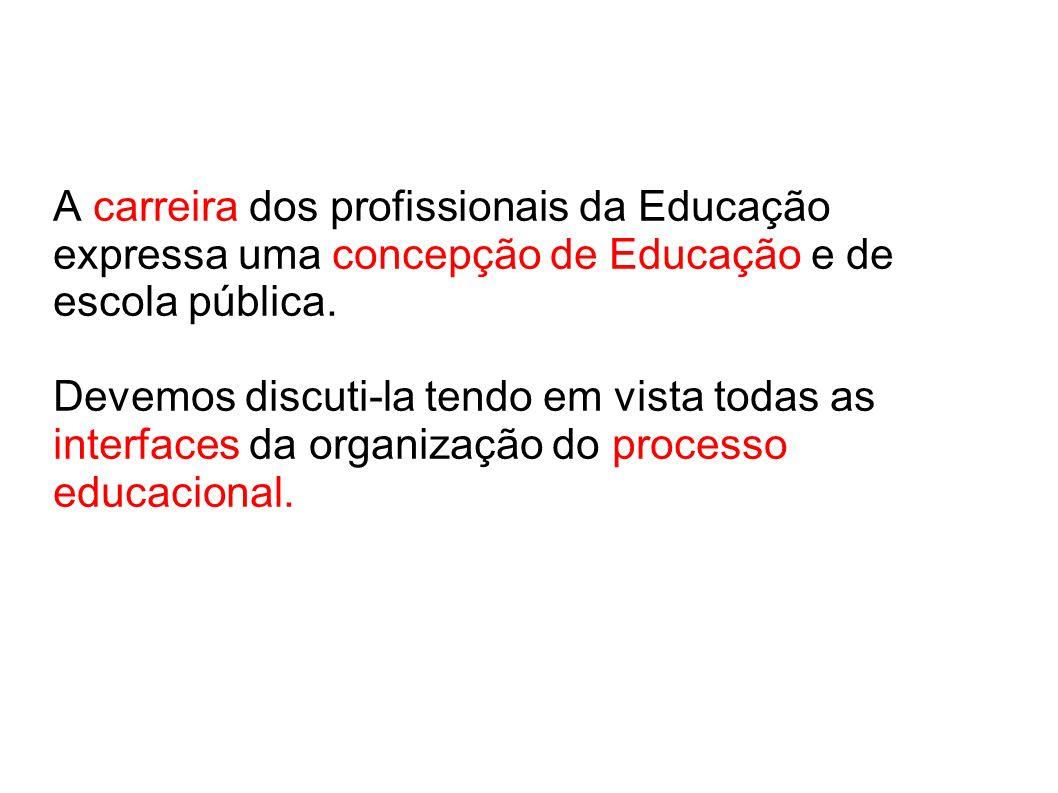A carreira dos profissionais da Educação expressa uma concepção de Educação e de escola pública.