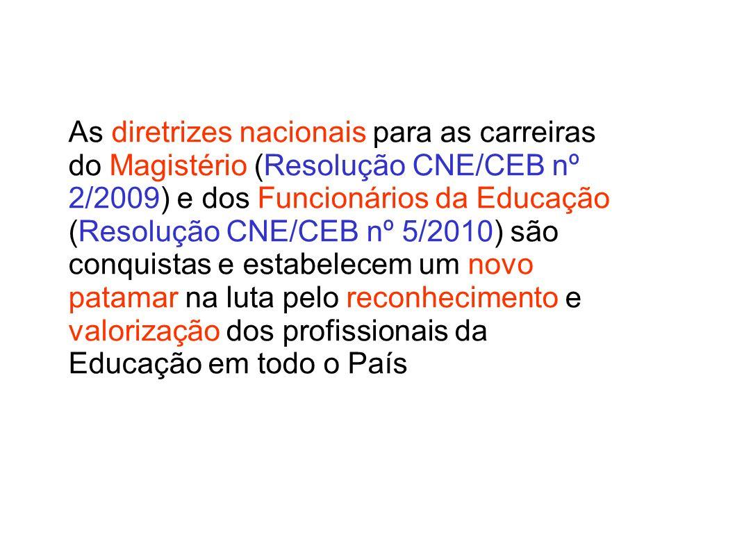 As diretrizes nacionais para as carreiras do Magistério (Resolução CNE/CEB nº 2/2009) e dos Funcionários da Educação (Resolução CNE/CEB nº 5/2010) são conquistas e estabelecem um novo patamar na luta pelo reconhecimento e valorização dos profissionais da Educação em todo o País