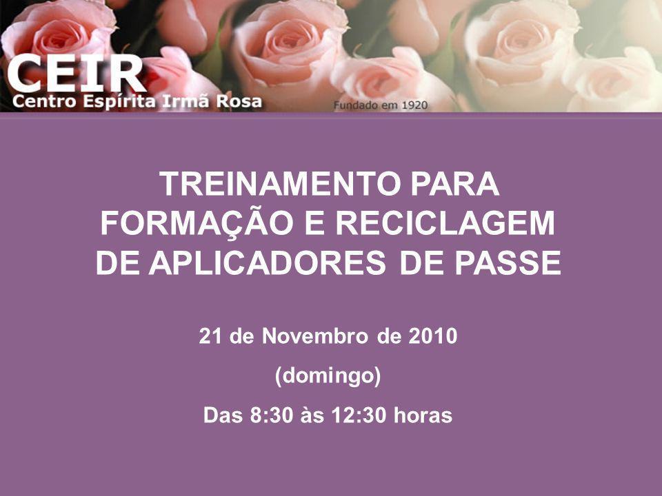 TREINAMENTO PARA FORMAÇÃO E RECICLAGEM DE APLICADORES DE PASSE 21 de Novembro de 2010 (domingo) Das 8:30 às 12:30 horas