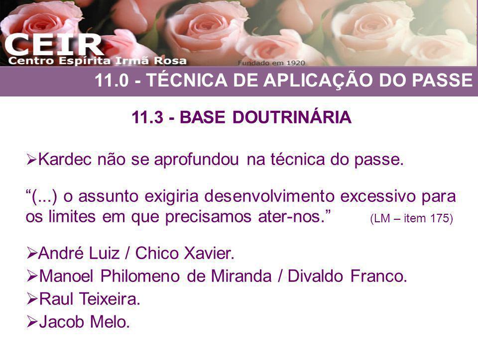 11.0 - TÉCNICA DE APLICAÇÃO DO PASSE 11.3 - BASE DOUTRINÁRIA Kardec não se aprofundou na técnica do passe. (...) o assunto exigiria desenvolvimento ex