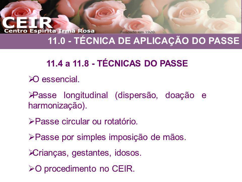 11.0 - TÉCNICA DE APLICAÇÃO DO PASSE 11.4 a 11.8 - TÉCNICAS DO PASSE O essencial. Passe longitudinal (dispersão, doação e harmonização). Passe circula