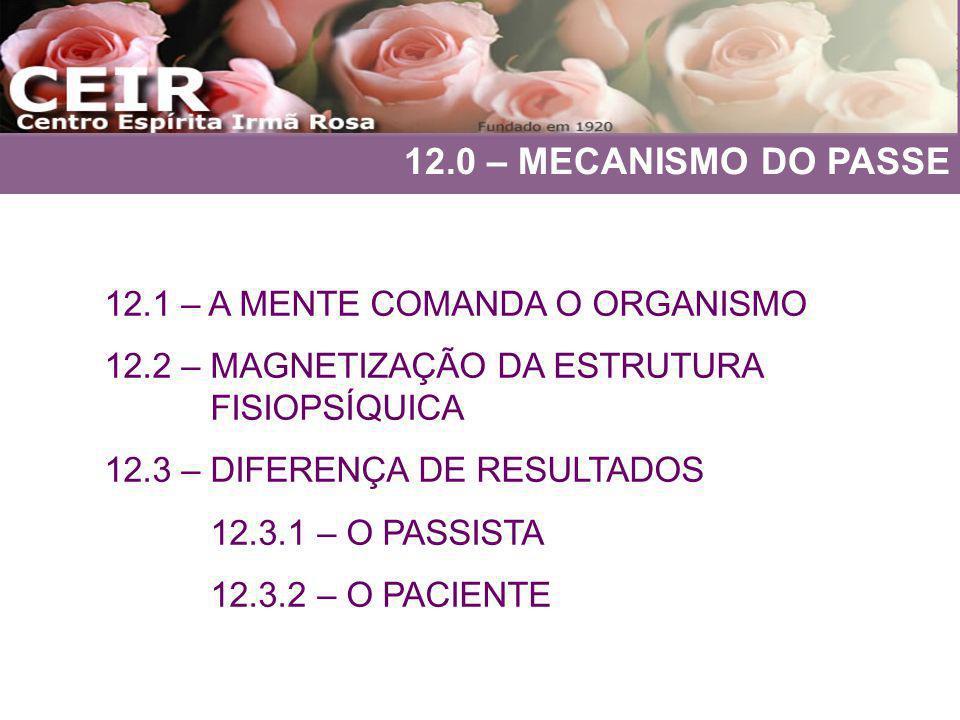 12.0 – MECANISMO DO PASSE 12.1 – A MENTE COMANDA O ORGANISMO 12.2 – MAGNETIZAÇÃO DA ESTRUTURA FISIOPSÍQUICA 12.3 – DIFERENÇA DE RESULTADOS 12.3.1 – O
