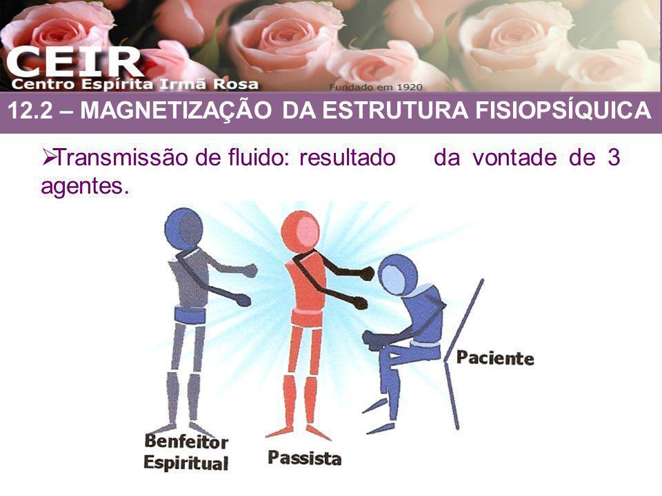 12.2 – MAGNETIZAÇÃO DA ESTRUTURA FISIOPSÍQUICA Transmissão de fluido: resultado da vontade de 3 agentes.