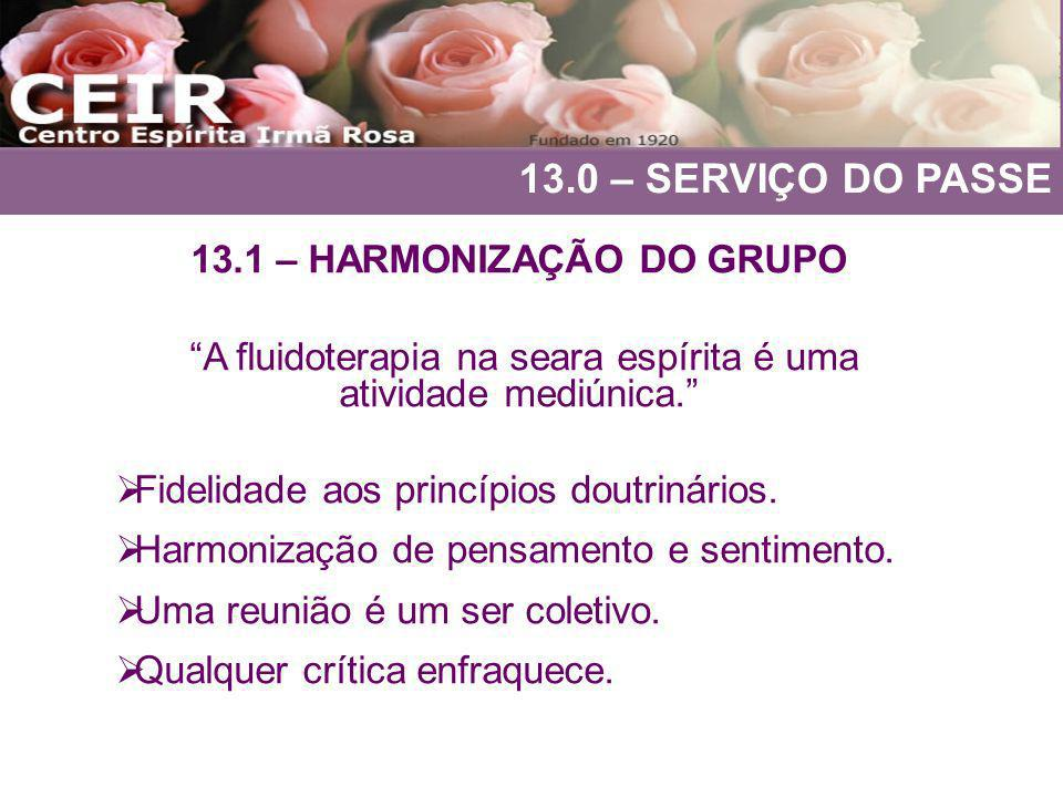 13.0 – SERVIÇO DO PASSE 13.1 – HARMONIZAÇÃO DO GRUPO A fluidoterapia na seara espírita é uma atividade mediúnica. Fidelidade aos princípios doutrinári