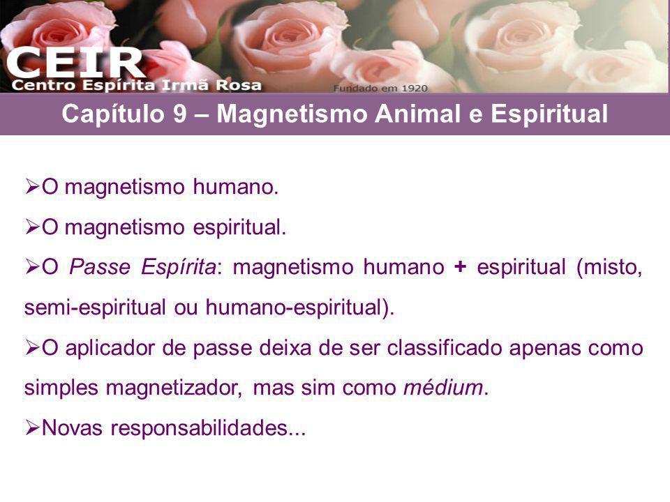 O magnetismo humano. O magnetismo espiritual. O Passe Espírita: magnetismo humano + espiritual (misto, semi-espiritual ou humano-espiritual). O aplica