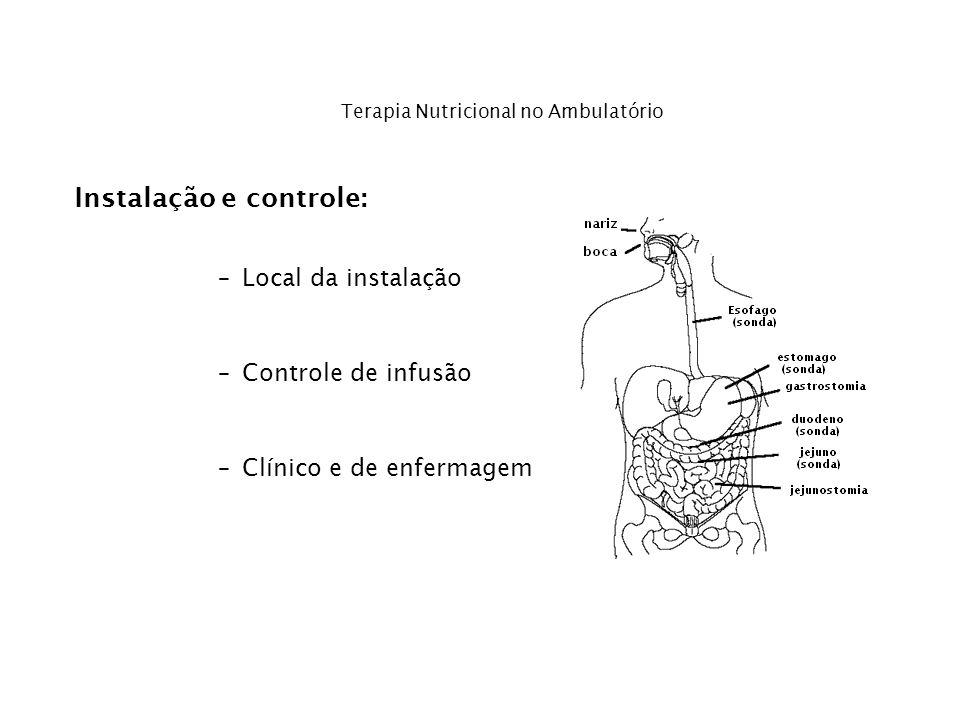 Instalação e controle: –Local da instalação –Controle de infusão –Clínico e de enfermagem Terapia Nutricional no Ambulatório