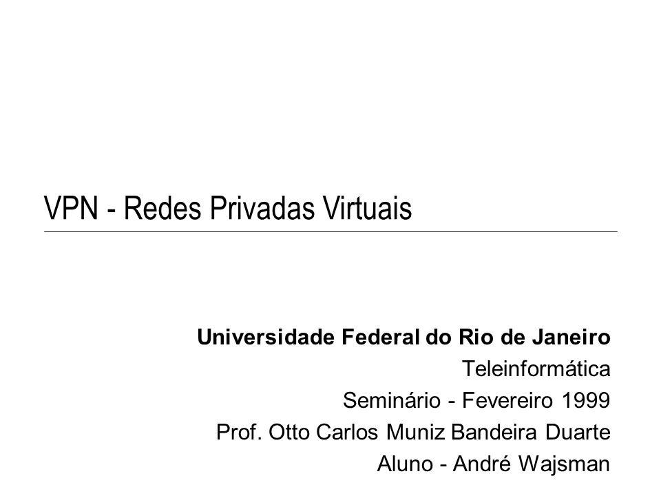 VPN - Redes Privadas Virtuais Universidade Federal do Rio de Janeiro Teleinformática Seminário - Fevereiro 1999 Prof. Otto Carlos Muniz Bandeira Duart