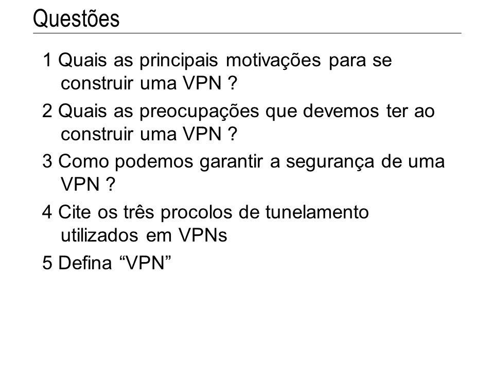 Questões 1 Quais as principais motivações para se construir uma VPN ? 2 Quais as preocupações que devemos ter ao construir uma VPN ? 3 Como podemos ga