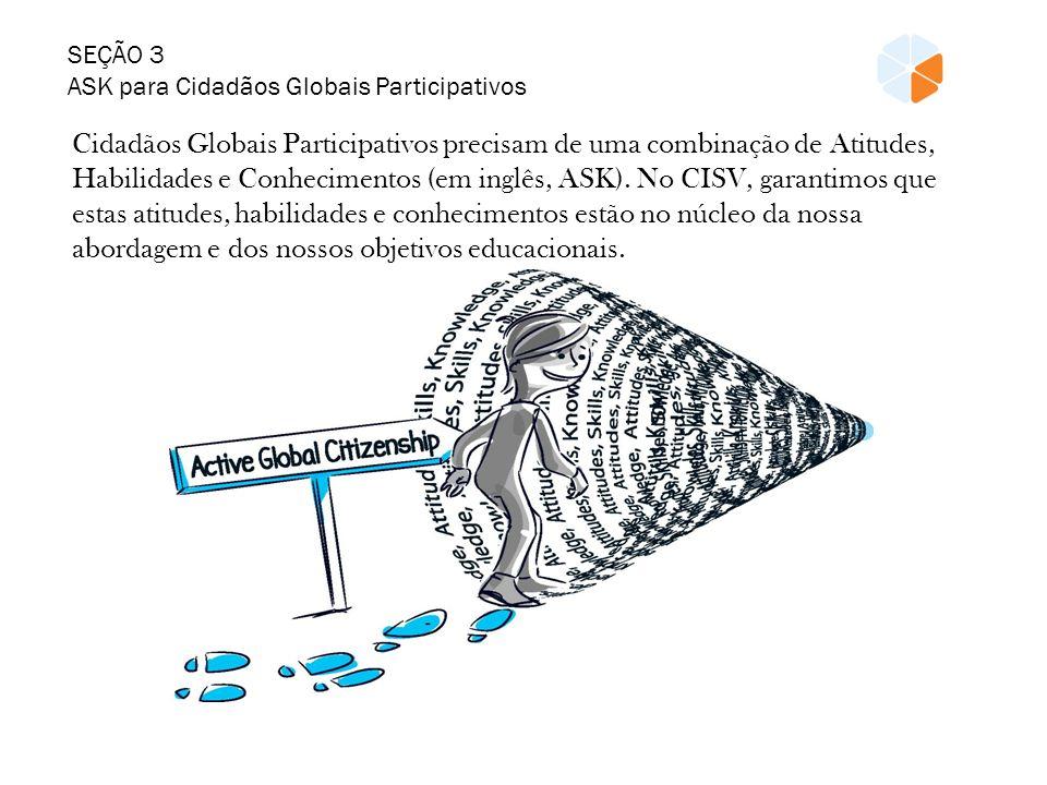 SEÇÃO 3 ASK para Cidadãos Globais Participativos Cidadãos Globais Participativos precisam de uma combinação de Atitudes, Habilidades e Conhecimentos (em inglês, ASK).