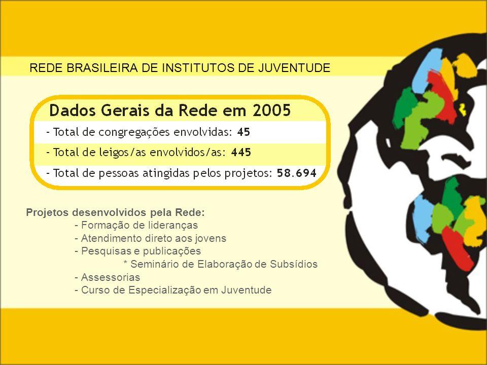 REDE BRASILEIRA DE INSTITUTOS DE JUVENTUDE Projetos desenvolvidos pela Rede: - Formação de lideranças - Atendimento direto aos jovens - Pesquisas e pu