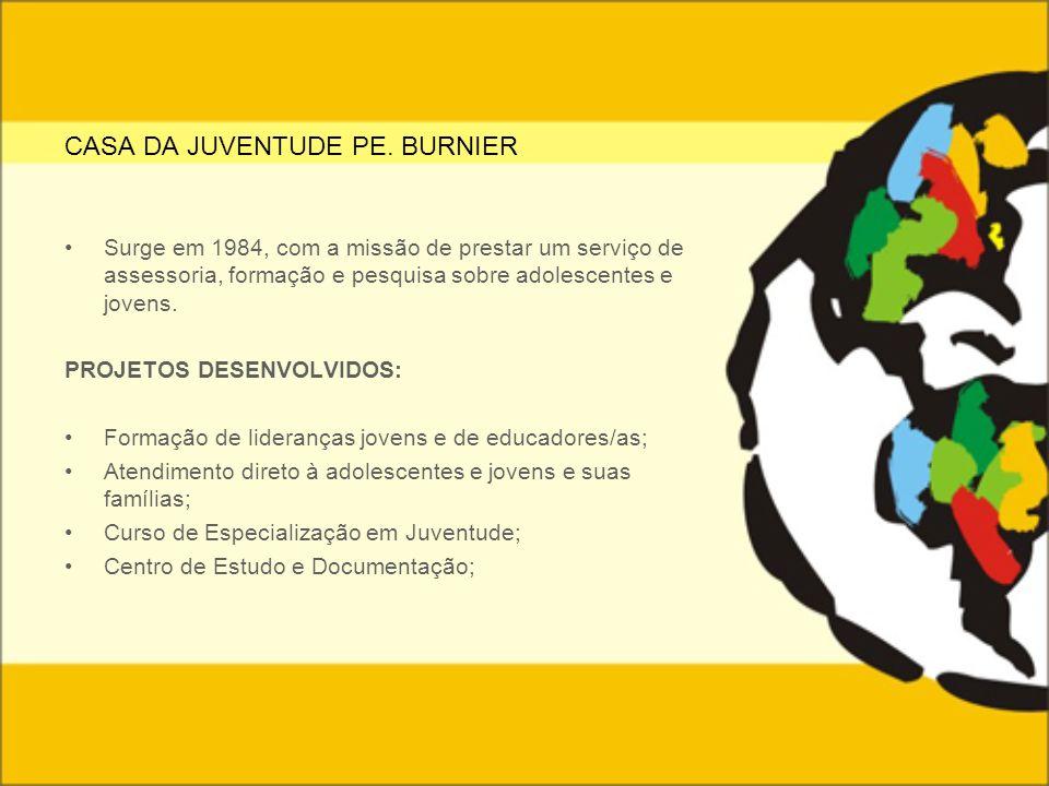 CASA DA JUVENTUDE PE. BURNIER Surge em 1984, com a missão de prestar um serviço de assessoria, formação e pesquisa sobre adolescentes e jovens. PROJET