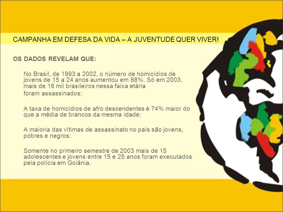 CAMPANHA EM DEFESA DA VIDA – A JUVENTUDE QUER VIVER! OS DADOS REVELAM QUE: No Brasil, de 1993 a 2002, o número de homicídios de jovens de 15 a 24 anos