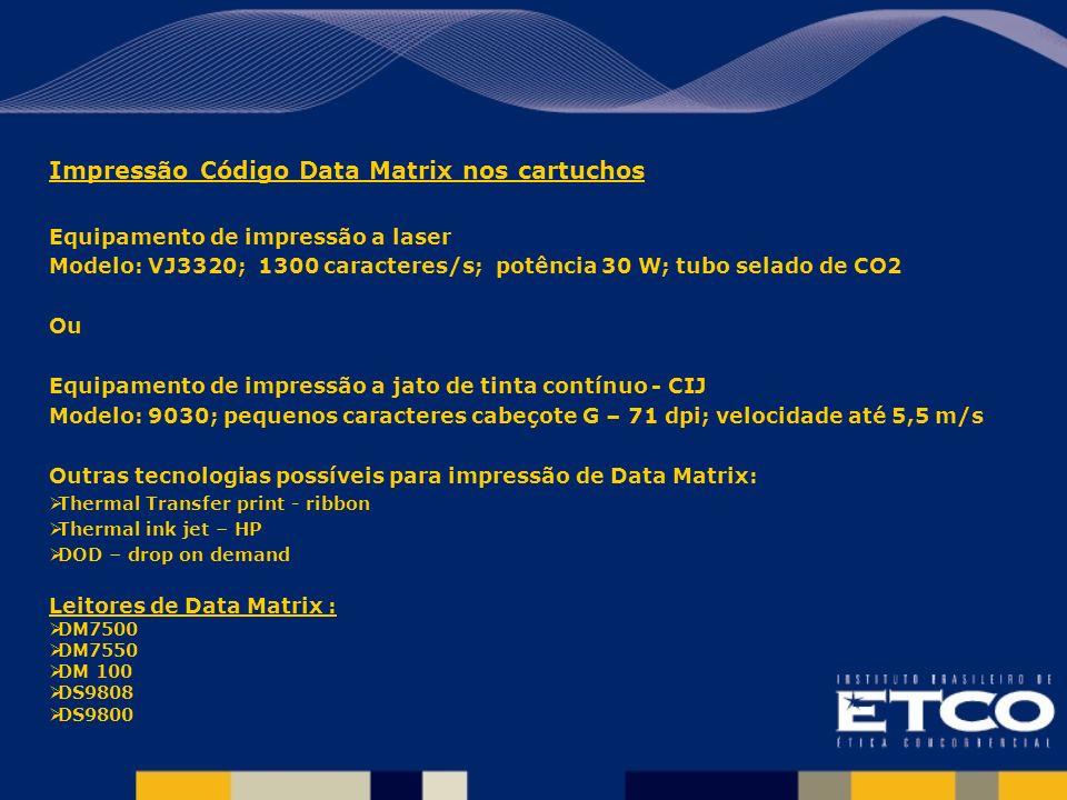 Impressão Código Data Matrix nos cartuchos Equipamento de impressão a laser Modelo: VJ3320; 1300 caracteres/s; potência 30 W; tubo selado de CO2 Ou Eq