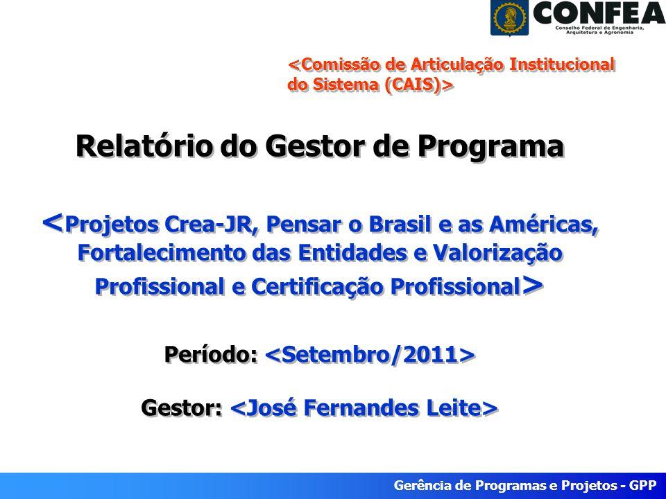 Gerência de Programas e Projetos - GPP Relatório do Gestor de Programa Período: Gestor: