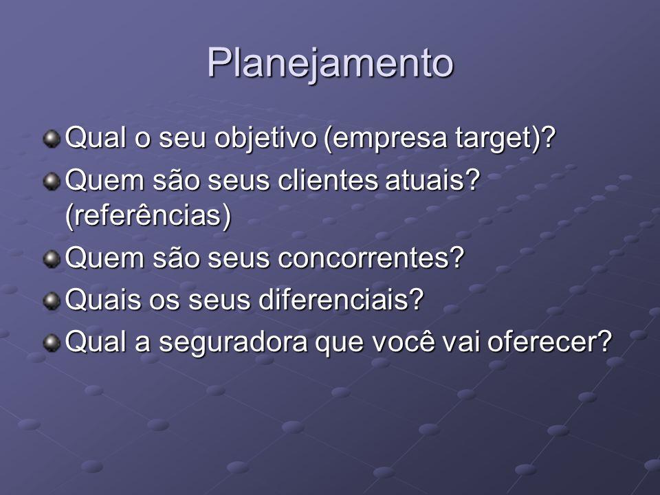 Planejamento Qual o seu objetivo (empresa target)? Quem são seus clientes atuais? (referências) Quem são seus concorrentes? Quais os seus diferenciais