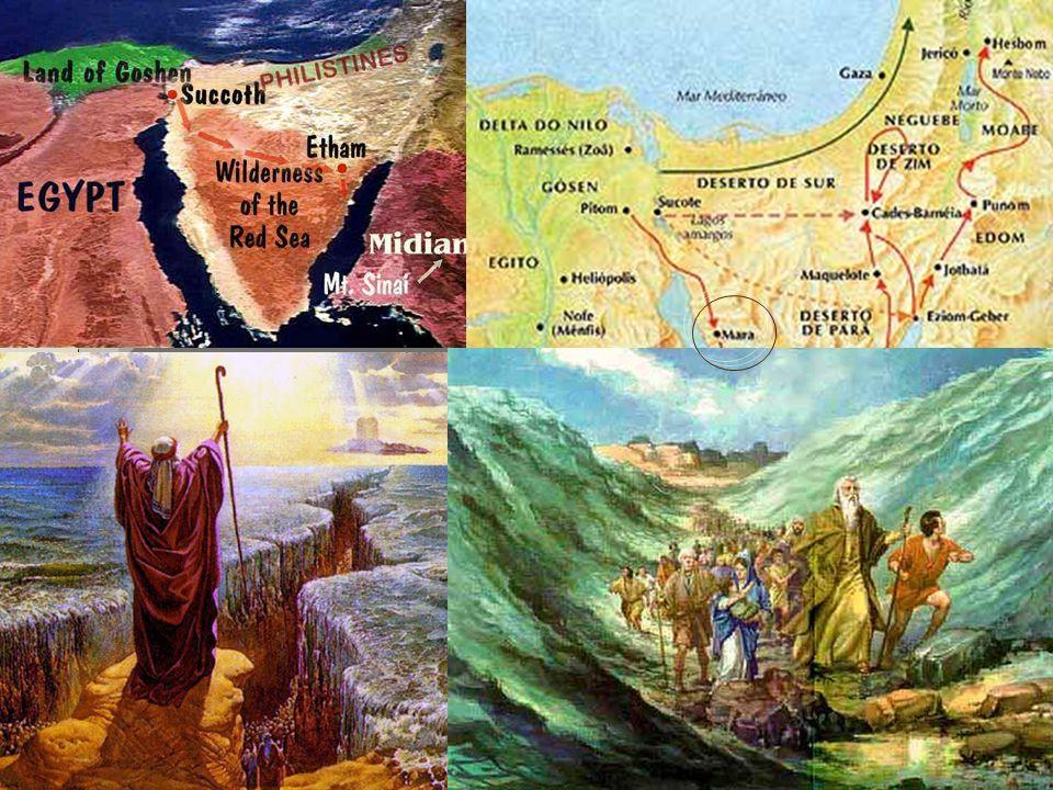 6 Exodo: 15 Depois de atravessar o Mar Vermelho e o deserto de Sur, Moisés e o povo hebreu... caminharam 3 dias no deserto.