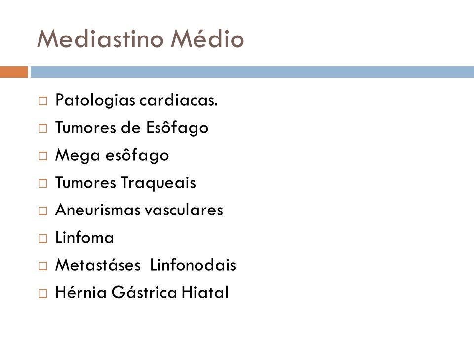 Mediastino Médio Patologias cardiacas. Tumores de Esôfago Mega esôfago Tumores Traqueais Aneurismas vasculares Linfoma Metastáses Linfonodais Hérnia G