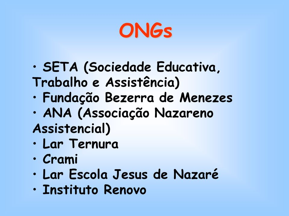 ONGs SETA (Sociedade Educativa, Trabalho e Assistência) Fundação Bezerra de Menezes ANA (Associação Nazareno Assistencial) Lar Ternura Crami Lar Escola Jesus de Nazaré Instituto Renovo